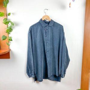 Vintage Grey Silk Unique Button Down Italian Shirt
